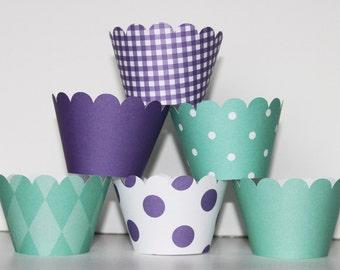 Mermaid, Teal, Purple, Cupcake Wrappers,  holder, wrap,  polka dots, wedding, bridal shower, baby shower, birthday party, mermaid