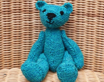 "8"" Handmade teddy bear old fashioned teal/turquoise/sea green marl Vintage Style Hand Knitted Teddy Bear in 100% Wool"