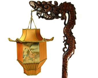 Chinese DRAGON Lamp Wood Floor Carved with Custom Pagoda Shade 1920s Antique