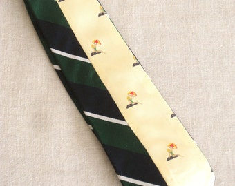 Necktie, Vintage Silk Tie, Stripped, Stripes, Mens Ties, Hand Embroidered, Navy Blue, Yellow, Green, Upcycled, Wil Shepherd,Neck Wear,Preppy