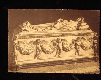 Antique Crypt Coffin Funeral Postmortem Photo Post Card at Gothic Rose Antiques