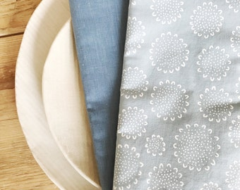 Pale Blue with Flowers - Set of 4 Dinner Size Napkins with Blue Reverse Side - Made and ready to ship