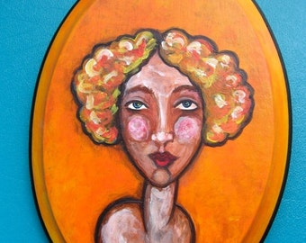 50% Off Sale Small Orange Painting - Portrait of Women with Autumn Hair  - Ready To Hang Original Painting