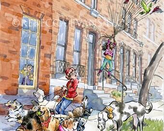 "Illustration Art Print of Little Girl ""Walking"" Birds and Boy Walking Dogs 8.5x11"