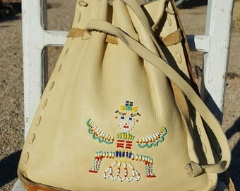 Vtg 70s Southwest Indian Boho Beaded Kachina Leather Handbag Shoulderbag