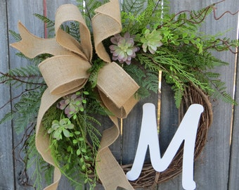 Succulent Wreath - Wreath for All Year Round - Monogram Wreath,  Everyday Burlap Wreath with Letter, Door Wreath, Front Door Wreath