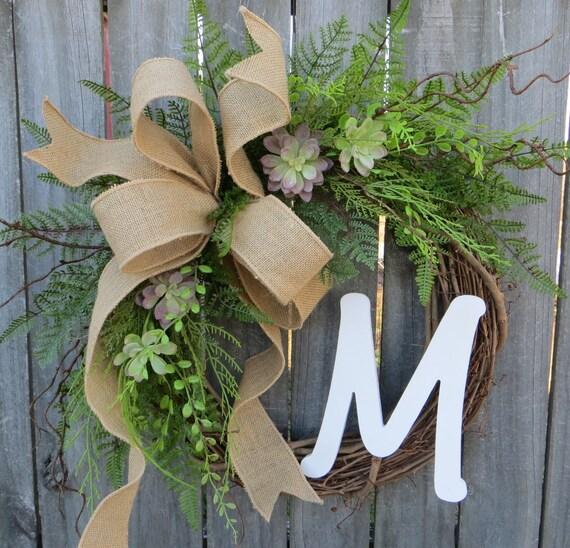 Succulent Wreath - Wreath for All Year Round - Monogram Wreath,  Everyday Burlap Wreath with Letter, Door Wreath, Front Door Wreath