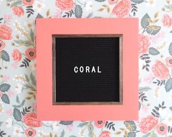 Coral Letter Board - 13''x13'' - Black or Gray Felt - Changeable Plastic Letters. Modern Farmhouse. Letterboard