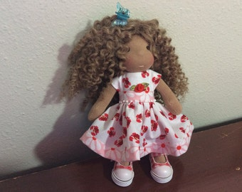 "Tiny Red Crabs, 7-8"" doll dress, Waldorf doll clothes"