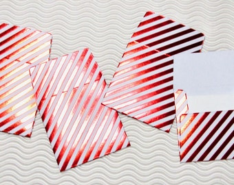 12 teeny tiny miniature square Valentine red foil stripe envelope mini note card sets stationery party favors weddings guest book