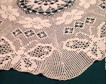"47"" crocheted table cloth"