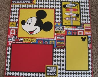 Disney Scrapbook Layout - Traditional Disney - 12x12 - Double Page - Mickey Mouse - Main Street