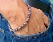Men's Spiritual Healing, Protection, Serenity, Transformation Bracelet with Semi Precious Speckled Labradorite, Ruby Jade, Hematites, Boho