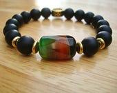 Men's Spiritual Protection, Love, Good Fortune Bracelet Semi Precious  Black Matte Onyx, Brazilian Agate in Green, Red and Black,  Brass