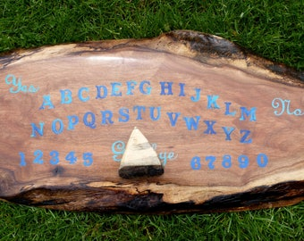 Ouija Board Blue Lettering Gothic Pagan Wiccan Paranormal Occult Divination Tool Planchette Pointer Haunted Wooden Hand Painted Game Spirit