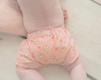 Baby and Toddler Bloomers Shorts Diaper Cover and Matching Headband Set in Peach Vintage Kitten Print