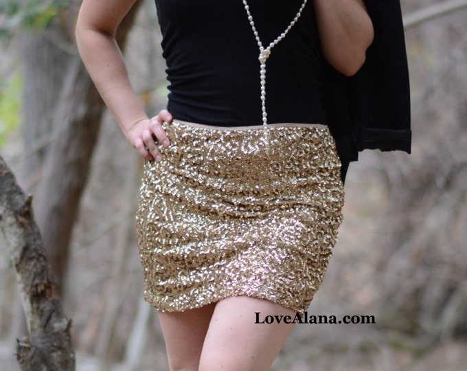 XS/S Only - Crushed Gold Mini Skirt - Stretchy Sequin Bodycon Mini/Pencil Skirt. Gorgeous color, ships asap!