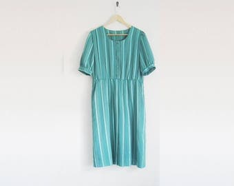 Vintage 60s Dress. Vintage Green Stripe Babydoll Dress. Half Button Down Pleated Skirt. Drop Pleat Skirt. 60s Striped Dress.