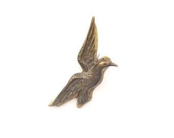 Vintage Brass Hummingbird Clip