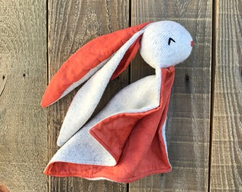 Organic Bunny Lovey- Orange Red and Gray