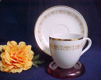 Vintage Flat Demitasse Cup & Saucer in Imperial Gold Pattern by Sheffield Fine China, Mid Century Japan # 504 W 1960s with Gold Trim