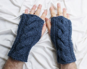 Fingerless Gloves - Men's Gloves - Denim Blue Gloves - Men's Wrist Warmers - Gloves for Men - Ready to ship