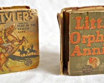 2 Vintage Little Big Book Little Orphan Annie and Tim Tyler's Luck and the Plot of the Exiled King... Whitman 1936