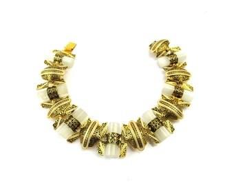 Vintage Damascene Bracelet, Black Enamel Bracelet, Gold Braclet, Lucite Bracelet, White Plastic, Damascene Jewelry, Vintage 1950s Jewelry