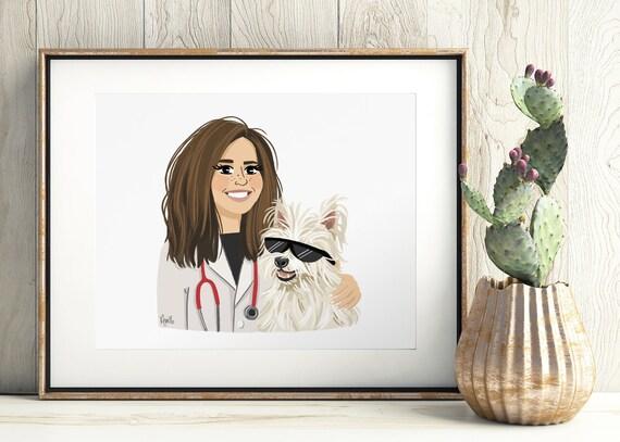 1 Person + 1 Pet illustrated custom portrait. Couple family pet portrait, custom illustration, anniversary, birthday, graduation gift
