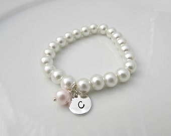 Pearl Bracelet, Bridesmaid Gift, British Seller UK, Pink Pearl Bracelet, Initial Bracelet, Flower Girl Gift, Pearl Jewelry, Mom Gift