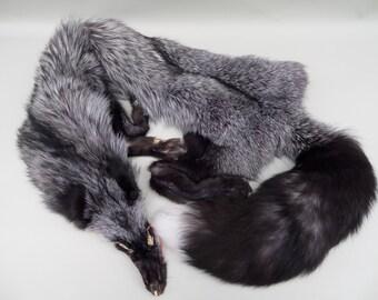 Silver Fox Pelt-Huge