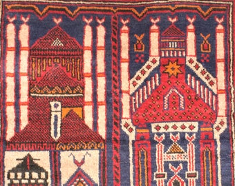 """Vintage, Hand Knotted Prayer Rug from Afghanistan, with Architectural Interest, Mosque, Building, 100% Wool, 2'10""""x4'10"""""""