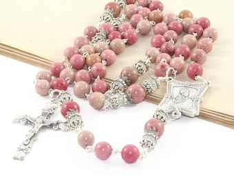 Mother and Child Rosary, Pink Rhodonite Gemstone Catholic Woman's Rosary Beads