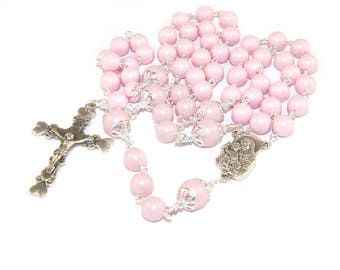 Pretty Pink Mother & Child Rosary, Swarovski Pearls, Hearts Crucifix, Madonna Center