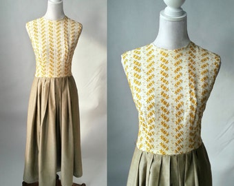Vintage Dress, 1950s Dress, Embroidered 50s Dress, Yellow Floral 50s Dress, Retro 1950s Dress, Sleeveless 50s Dress, Cotton 1950 Brown Dress
