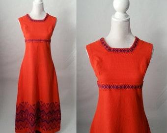 Vintage Dress, 1970s Orange Dress, Cotton Maxi Dress, Boho Orange Dress, 1970s Cotton Dress, Orange Cotton Maxi, Retro Orange Dress, 1970s