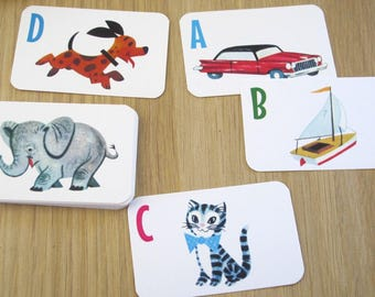 Box of Vintage Style Alphabet Flash Cards by writeables.com