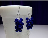 25% OFF SALE thru Mon. Royal Cobalt Blue Pearl Cluster Earrings, Wedding Mothers Day Mom Sister Bridesmaid Girlfriend Birthday Wife Jewelry