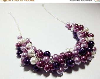 30% OFF SALE thru 2-28 Christmas Plum Wine Lilac Pearl Cluster Necklace, Bridesmaid Mom Sister Grandmother, Wedding Jewelry, Silver