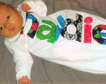Funky new baby gift - Infant  sleeper gown layette sack bodysuit, green, blue,red, black personalized name appliques, bring baby home outfit