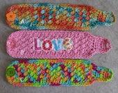 Mug/Soda-can Cozies: crochet multi-colors, autumn, bright colors, pink love mug cozy (choose 1)