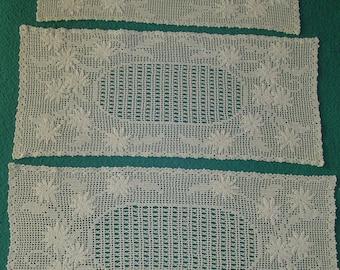 3 Crocheted Rectangular Doilies/Runners, Absolutel Stunning Work, Vintage Linen, Home Decor, Home Decorations, Linens