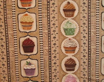 Cupcakes Cup Cakes Icing Baking Border Tan Cotton Fabric Fat Quarter or Custom Listing