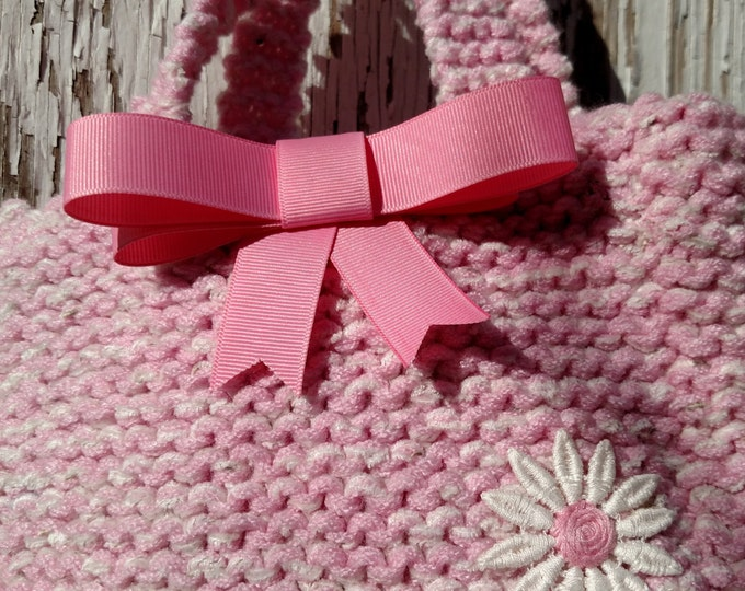 Mini Knit Tote in Pink and White with Daisy and Ribbon Bow