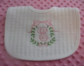 Monogrammed Personalized  Bib  -- Personalized Baby Girl  Gift   -- SELECT Thread  COLOR