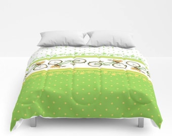 Green Bicycle Duvet Cover or Comforter, Bedding, Bedspread Twin Full Bright, Romantic, White, Lime, chartreuse, Bike, yellow, polka dots