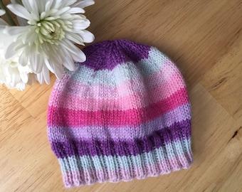 Pink/purple, Green/Blue, Blue/Gray, OR Brown/Red, Striped Preemie/Newborn Baby Hat, Baby Boy, Baby Girl, Newborn Beanie, Photo Prop, Merino