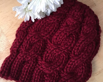 Handknit deep red cabled beanie, adult small/medium, acrylic, machine washable