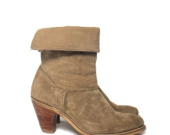 40% off SALE 6 B | Women's High Heel Laredo Tan Suede & Corduroy Western Boots