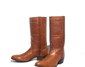 SALE 7.5 D | Men's J.S. Justin Fancy Riding Boots Brown Leather Cowboy Western Boots